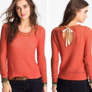 Free People Jewel Embellished crochet sweater